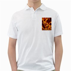 Sea Fire Orange Yellow Gold Wave Waves Golf Shirts