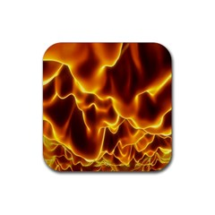 Sea Fire Orange Yellow Gold Wave Waves Rubber Square Coaster (4 pack)