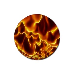 Sea Fire Orange Yellow Gold Wave Waves Rubber Coaster (Round)