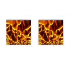 Sea Fire Orange Yellow Gold Wave Waves Cufflinks (square)