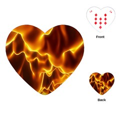 Sea Fire Orange Yellow Gold Wave Waves Playing Cards (Heart)