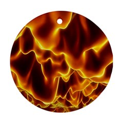 Sea Fire Orange Yellow Gold Wave Waves Round Ornament (two Sides)