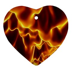 Sea Fire Orange Yellow Gold Wave Waves Heart Ornament (Two Sides)