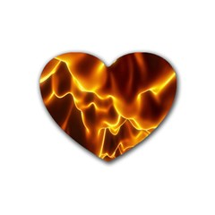 Sea Fire Orange Yellow Gold Wave Waves Heart Coaster (4 pack)
