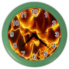 Sea Fire Orange Yellow Gold Wave Waves Color Wall Clocks