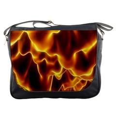 Sea Fire Orange Yellow Gold Wave Waves Messenger Bags