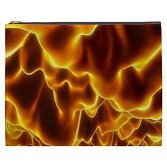 Sea Fire Orange Yellow Gold Wave Waves Cosmetic Bag (xxxl)