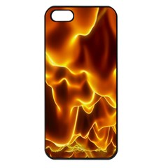 Sea Fire Orange Yellow Gold Wave Waves Apple iPhone 5 Seamless Case (Black)