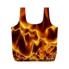 Sea Fire Orange Yellow Gold Wave Waves Full Print Recycle Bags (M)