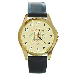 Shape Experimen Geometric Star Sign Round Gold Metal Watch