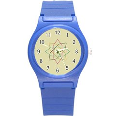 Shape Experimen Geometric Star Sign Round Plastic Sport Watch (S)
