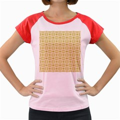 Gold Geometric Plaid Circle Women s Cap Sleeve T-Shirt