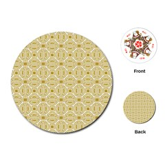 Gold Geometric Plaid Circle Playing Cards (Round)