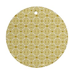 Gold Geometric Plaid Circle Round Ornament (two Sides)