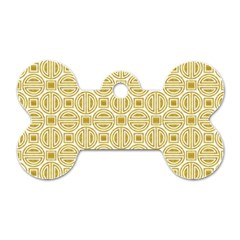 Gold Geometric Plaid Circle Dog Tag Bone (one Side)
