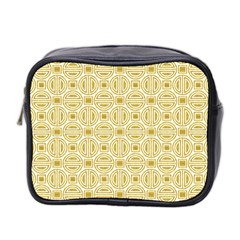 Gold Geometric Plaid Circle Mini Toiletries Bag 2-Side