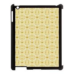 Gold Geometric Plaid Circle Apple iPad 3/4 Case (Black)