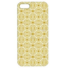 Gold Geometric Plaid Circle Apple iPhone 5 Hardshell Case with Stand