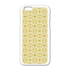 Gold Geometric Plaid Circle Apple Iphone 6/6s White Enamel Case