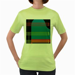 Sketches Tone Red Yellow Blue Black Musical Scale Women s Green T-Shirt