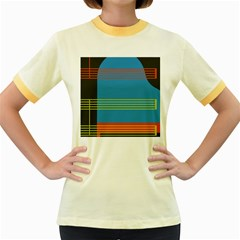 Sketches Tone Red Yellow Blue Black Musical Scale Women s Fitted Ringer T-Shirts