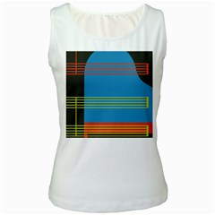 Sketches Tone Red Yellow Blue Black Musical Scale Women s White Tank Top