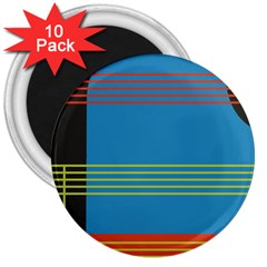 Sketches Tone Red Yellow Blue Black Musical Scale 3  Magnets (10 pack)