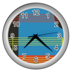 Sketches Tone Red Yellow Blue Black Musical Scale Wall Clocks (silver)