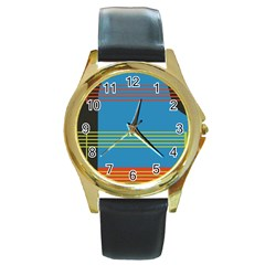 Sketches Tone Red Yellow Blue Black Musical Scale Round Gold Metal Watch