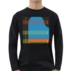 Sketches Tone Red Yellow Blue Black Musical Scale Long Sleeve Dark T-Shirts