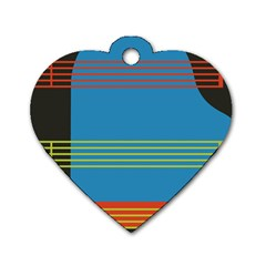 Sketches Tone Red Yellow Blue Black Musical Scale Dog Tag Heart (one Side)