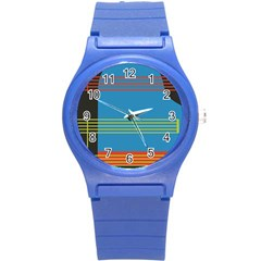Sketches Tone Red Yellow Blue Black Musical Scale Round Plastic Sport Watch (S)