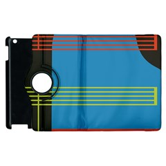 Sketches Tone Red Yellow Blue Black Musical Scale Apple iPad 3/4 Flip 360 Case