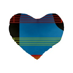 Sketches Tone Red Yellow Blue Black Musical Scale Standard 16  Premium Heart Shape Cushions
