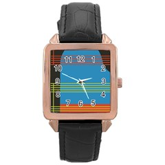 Sketches Tone Red Yellow Blue Black Musical Scale Rose Gold Leather Watch
