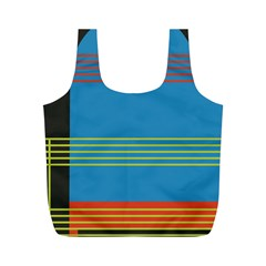 Sketches Tone Red Yellow Blue Black Musical Scale Full Print Recycle Bags (M)