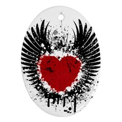 Wings Of Heart Illustration Ornament (oval)