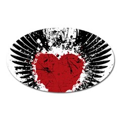 Wings Of Heart Illustration Oval Magnet