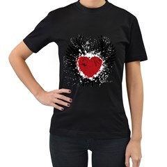 Wings Of Heart Illustration Women s T-Shirt (Black) (Two Sided)