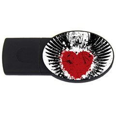 Wings Of Heart Illustration Usb Flash Drive Oval (4 Gb)