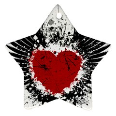 Wings Of Heart Illustration Star Ornament (two Sides)