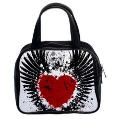 Wings Of Heart Illustration Classic Handbags (2 Sides)