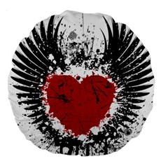 Wings Of Heart Illustration Large 18  Premium Round Cushions