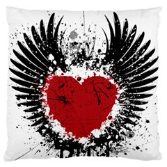 Wings Of Heart Illustration Large Flano Cushion Case (One Side)