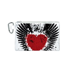 Wings Of Heart Illustration Canvas Cosmetic Bag (S)