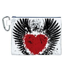 Wings Of Heart Illustration Canvas Cosmetic Bag (L)