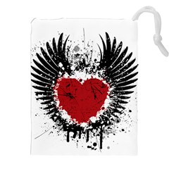 Wings Of Heart Illustration Drawstring Pouches (XXL)