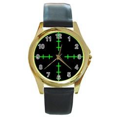 Sniper Focus Round Gold Metal Watch