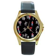 Drake Hotline Bling Black Background Round Gold Metal Watch