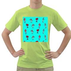 Hotline Bling Blue Background Green T-Shirt